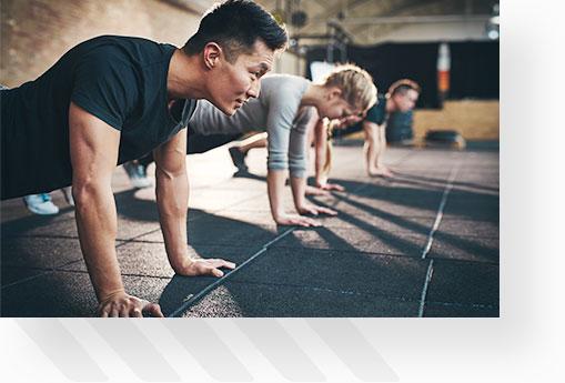 Fitness Group Doing Pushups